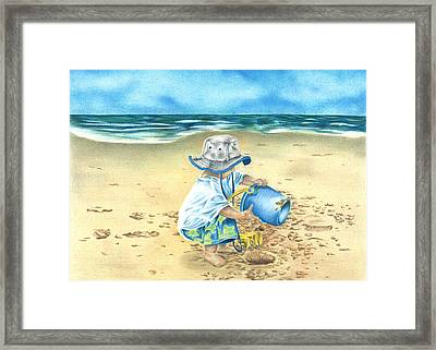 Playing On The Beach Framed Print by Troy Levesque