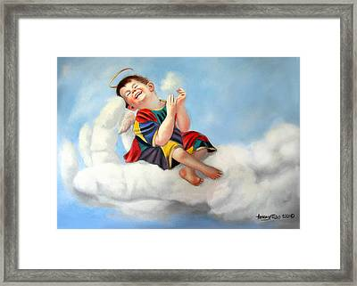 Playing On The Job Framed Print by Anthony Falbo