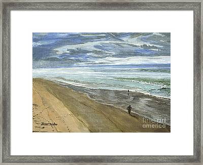 Framed Print featuring the painting Playing On The Oregon Coast by Ian Donley