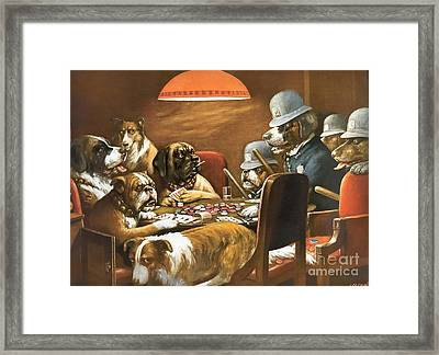 Playing Poker And Got Busted Framed Print by Cassius Marcellus Coolidge