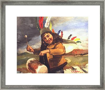 Playing Pow Wow Framed Print by Art By Tolpo Collection