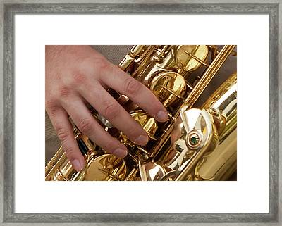 Playing Sax Framed Print by Jim Finch