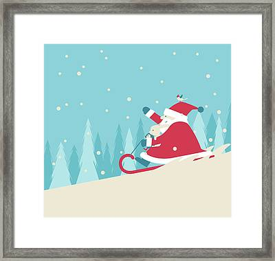 Playing Snow Sled Framed Print by Akindo