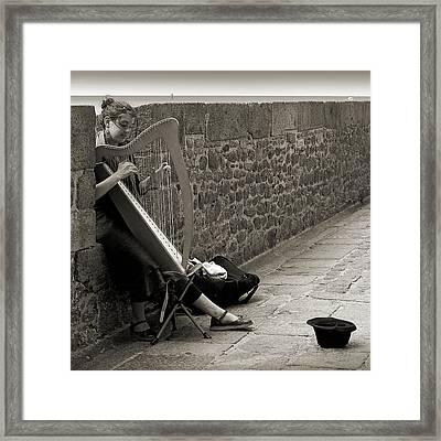 Playing The Celtic Harp Framed Print by RicardMN Photography