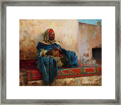 Playing The Derbakeh Biskra Framed Print by Celestial Images