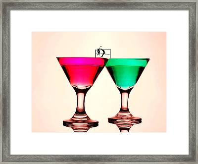 Playing Volleyball On Colorful Cups Little People On Food Framed Print by Paul Ge
