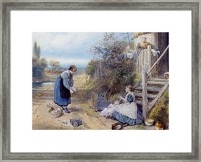 Playing With Baby Framed Print by Myles Birket Foster