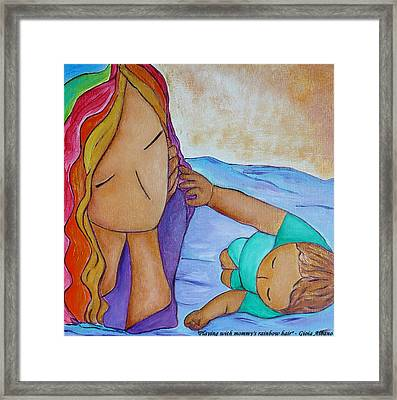 Playing With Mommy's Rainbow Hair Framed Print by Gioia Albano
