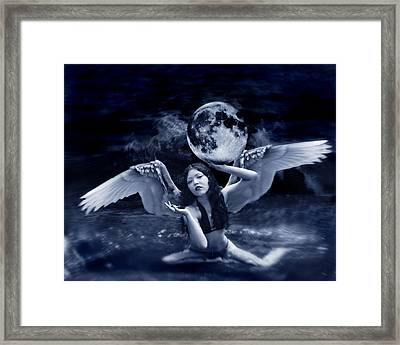 playing with the Moon Framed Print by Mayumi Yoshimaru