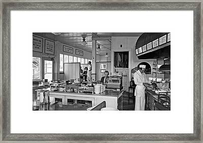 Playland Restaurant Interior Framed Print by Underwood Archives