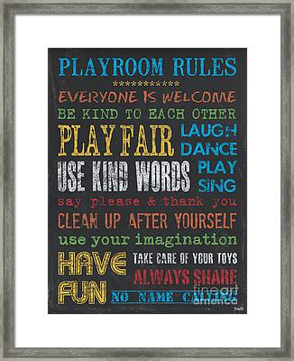 Playroom Rules Framed Print by Debbie DeWitt