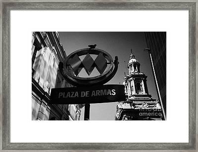 plaza de armas metro station near Santiago Metropolitan Cathedral Chile Framed Print by Joe Fox