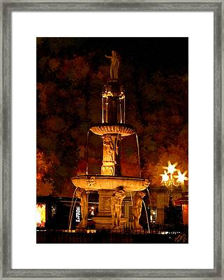 Plaza De Bib-rambla Fountain In Granada Spain Framed Print