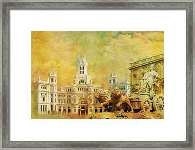 Plaza De Cibeles City Hall Madrid Framed Print by Catf