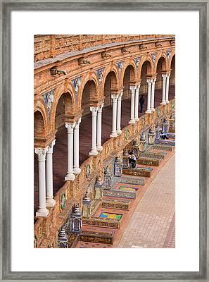 Plaza De Espana Colonnade In Seville Framed Print by Artur Bogacki