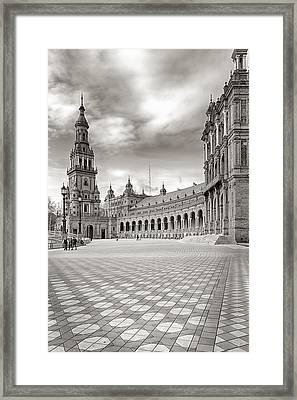 Plaza De Espana Seville Bw Framed Print by Joan Carroll
