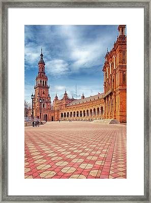 Plaza De Espana Seville Framed Print by Joan Carroll