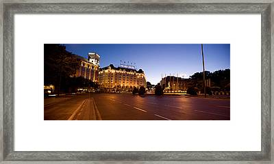 Plaza De Neptuno And Palace Hotel Framed Print by Panoramic Images