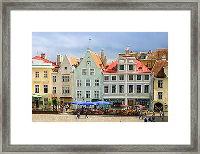 Plaza In Talin Estonia Framed Print