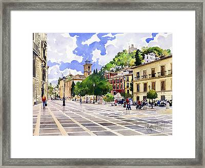 Plaza Nueva And Santa Ana Church Granada Framed Print by Margaret Merry