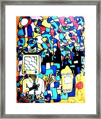 Please Brainwash The Cowboy Framed Print by Rick Burgunder
