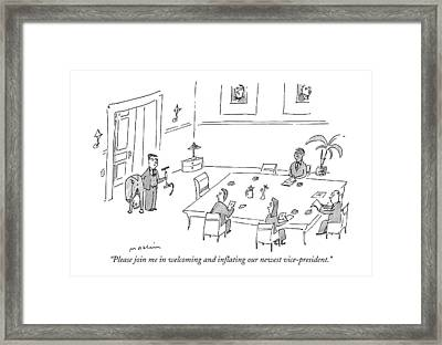 Please Join Me In Welcoming And Inflating Framed Print
