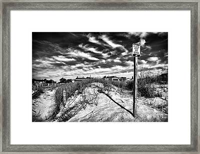 Please Keep Off Dunes Framed Print by John Rizzuto