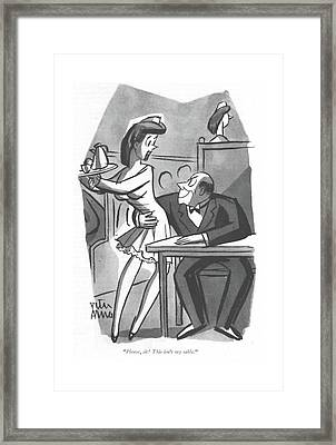 Please, Sir! This Isn't My Table Framed Print by Peter Arno