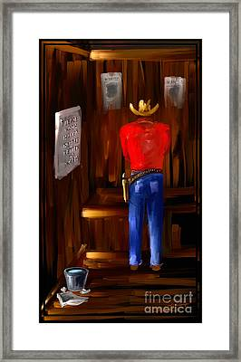 Please Wash You Hands The Wild West Series Number Two Framed Print by Steven Lebron Langston