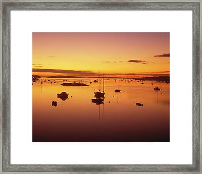 Pleasure Boats Moored In Southwest Framed Print by Panoramic Images