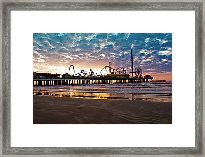 Pleasure Pier Galveston At Dawn Framed Print