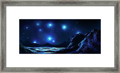 Pleiades Cluster Seen From Nearby Planet Framed Print by Mark Garlick