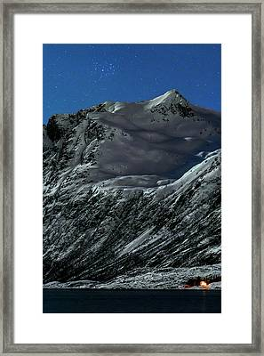 Pleiades Star Cluster Over A Fjord Framed Print by Babak Tafreshi