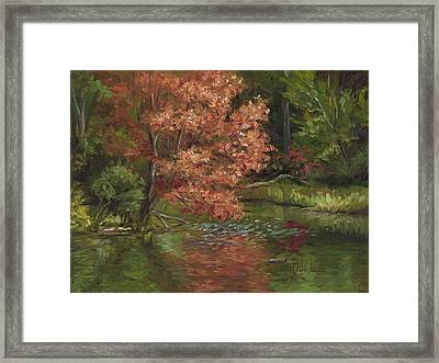 Plein Air - Red Tree Framed Print by Lucie Bilodeau