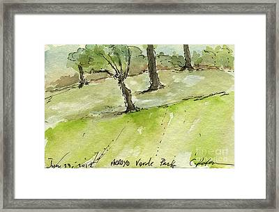 Plein Air Sketchbook. Arroyo Verde Park Ventura June 23. 2012 Trees On A Hill Bending Framed Print