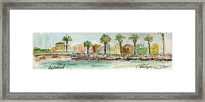 Plein Air Sketchbook. Oxnard California 2011. Entrance To The Harbor From The North Jetty Framed Print