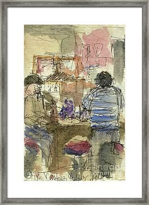 Plein Air Sketchbook. Stix Billiard Room. Ventura California. June 30. 2012. Boys At The Bar Framed Print by Cathy Peterson