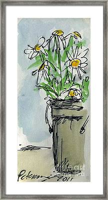 Plein Air Sketchbook. Ventura California 2011.  Tall Bucket Of Daisies From My Backyard Framed Print by Cathy Peterson