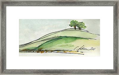 Plein Air Sketchbook. Ventura California 2011.  Two Trees On A Hill Framed Print