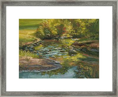 Plein Air - Stream In Forest Park Framed Print by Lucie Bilodeau