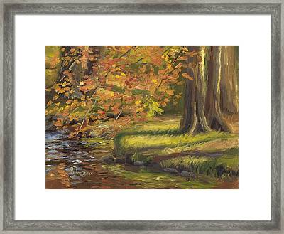 Plein Air - Trees And Stream Framed Print by Lucie Bilodeau