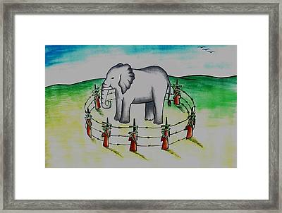 Plight Of Elephants Framed Print by Tanmay Singh