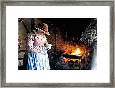 Plimoth Plantation  Pilgrim Fireplace Cooking Framed Print
