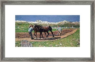 Ploughing Framed Print by Giovanni Segantini