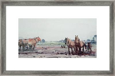 Plow Horses Framed Print by Harry Becker