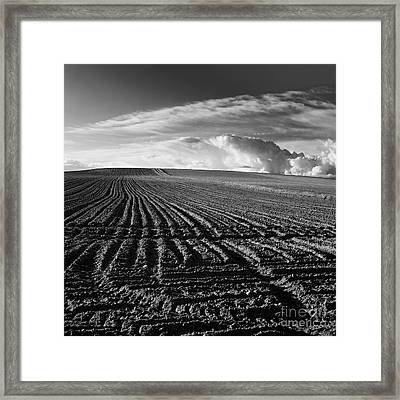 Plowed Field In Limagne. Auvergne. France Framed Print
