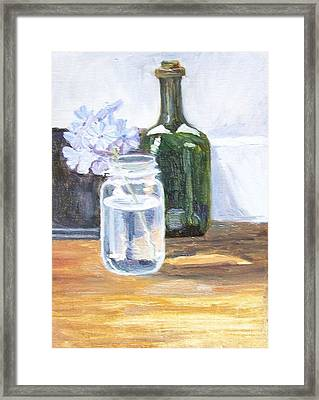 Plumbago In Glass Jar Framed Print by Mary Adam