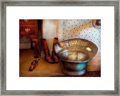 Plumber - Bath Day Framed Print by Mike Savad