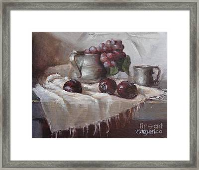 Plums Grapes And Pewter Framed Print by Viktoria K Majestic