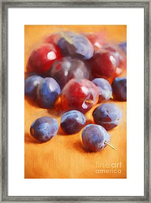 Plums On Orange Framed Print by HD Connelly